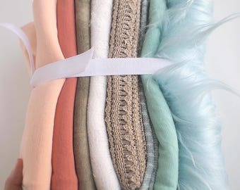 8 Wrap and Layering Blanket Bundle - for Newborn photography props