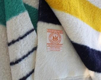 Vintage Wool Blanket Hudsons Bay Hudson Multi Stripe 4 Point Red Green Yellow Lodge Camp Rustic Adirondacks