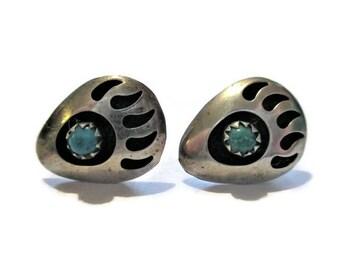 Vintage Navajo Sterling Bear Paw Print Earrings