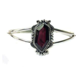 Twilight movie Bella Silver Bracelet setted faceted Garnet Gemstone handmade jewelry adjustable silver bangle beautiful jewelry for everyday