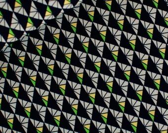 Retro Triangles (Black) - European Fabric - 100% Soft Cotton - 1 Yard