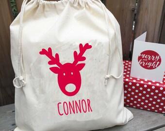 Personalised Christmas Sack - Santa Sack - Reindeer