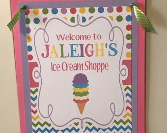ICE CREAM PARTY Theme Happy Birthday or Baby Shower Door or Welcome Sign - Party Packs Available