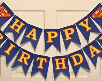 "SUPERMAN INSPIRED  ""Happy Birthday""  or Baby Shower Banner - Green Blue Navy - Party Packs Available"