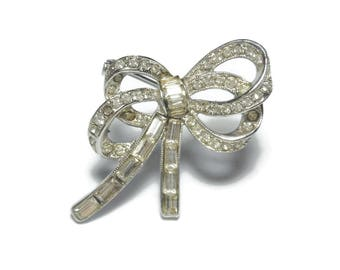 Bellini bow brooch, Bellini rhinestone bow pin, channel set and pave rhinestones, small pin