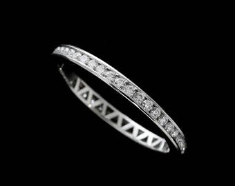 Diamond Wedding Ring, Channel Diamonds Band, Eternity Stackable Wedding Ring, Classic Women's Wedding Ring, Conflict Free 14k Gold 2mm Band