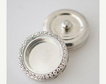 1 Floating Locket Rhinestone - FITS MOST 18MM Candy Snap Charm Jewelry Silver Magnetic Kb0199 Cp0022