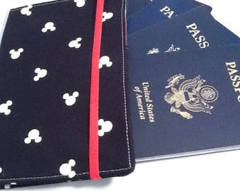 Mickey Passport Cover, Holds 2 or 4 Passports, International Travel, Disney Inspired, Disney Cruise Travel Accessory
