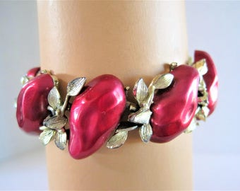 Red Lucite Bracelet  - Signed BSK - Lucite Thermoset - Gold Tone Setting