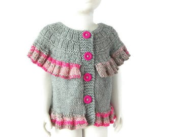 Alpaca Girl Shrug, Knit Toddler Gray Vest, Spring Ruffled Jacket, 2-3 Years Old, Children Knitwear, Ready To Ship