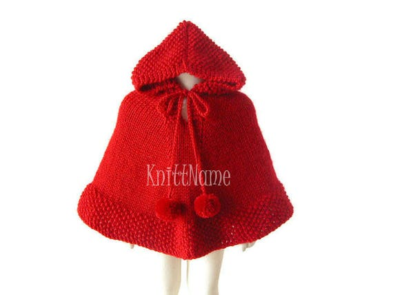 Baby Girl Poncho Red Cape Toddler Knit Sweater Knit Hoodie