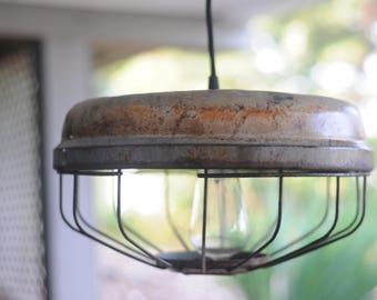 Vintage Chicken Feeder Pendant Ceiling Light Fixture Steampunk Industrial Urban CT