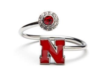University of Nebraska Ring | Adjustable Stainless Steel Nebraska Ring | Nebraska Cornhusker | Officially Licensed By University of Nebraska
