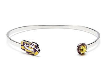 Louisiana State University Bracelet | LSU Tigers - Tiger Eye with Crystal | Officially Licensed Louisiana State University Jewelry