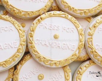 Press For Champagne Cookies, Wedding Cookies, Bridal Party Favors, Bridal Shower, Bachelorette Party Favors, Wedding Shower Favors,Champagne