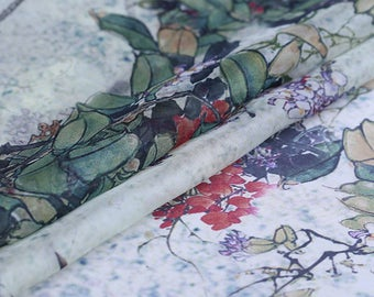 """100% fine silk chiffon fabric, floral digital printed,  53""""/135cm 6mm for Summer Dresses, blouses, skirts, Scarves, by the yard"""