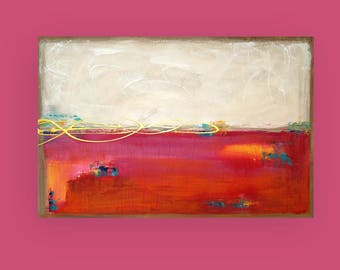 "Gold, Orange, Pink,Art Painting - Acrylic, Ora Birenbaum Art, Abstract Painting Original Art on Canvas Titled:Rock Candy 24x36x1.5"""
