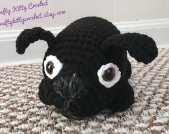 READY TO SHIP Stuffed Black Pug / Dog - Amigurumi, Toy, Plush