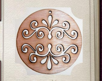 Fancy Circular Scroll Ornament - Laser Cut Wood