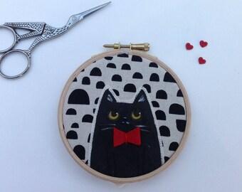 Cat in a bow tie  - fun cat art - cat lover gift - cat hoop art - black cat lover