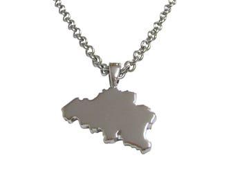 Belgium Map Shape Pendant Necklace