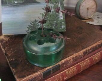 Vintage Irisdescent Green Glass Flower Frog
