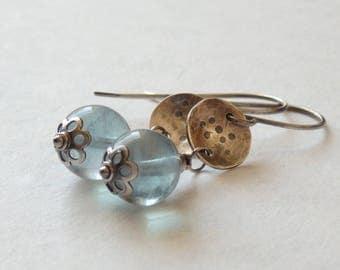 Blue Fluorite Gemstone Earrings with Sterling Silver Disc Drop, Rustically Modern Earrings, Oxidized Hammered Silver Gemstone Jewelry