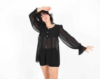 80s Split Panel + Flared Wrist Puff Shoulder Dramatic Balloon Sleeve Long Sleeve Black Blouse Tent Babydoll Top / Mini Dress