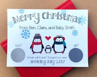 Christmas Gender Reveal Scratch-Off Cards, Christmas Baby Gender Reveal Scratch Offs, Holiday Gender Reveal, Penguins