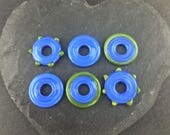 3 Pairs of blue and olive green handmade lampwork glass discs | Earring pairs.