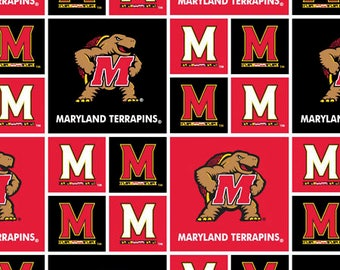 University of Maryland Cotton Fabric-Maryland Terps 100% Cotton Quilting Fabric-Sold by the Yard-Geometric Design
