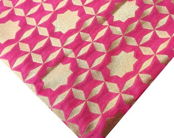 Blush Pink and Gold Pure Silk Soft Fabric - Soft Pure Silk - Banaras Silk Fabric - Dress Fabric - Gift for Her -  Necktie Fabric