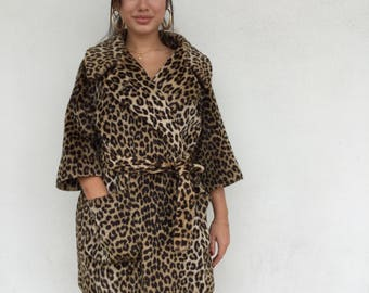 Fierce 80s faux leopard print coat with tie waist