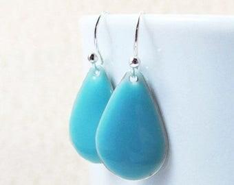 40% OFF Dangle Drop Earrings - Sky Blue Epoxy Enamel Teardrops - Sterling Silver Plated over Brass (F-5)
