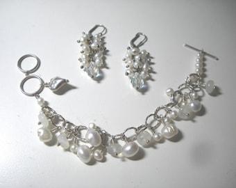 Sterling SILVER/PEARL Bracelet/Cluster Earring SET