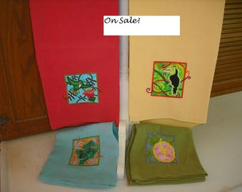 On Sale! Tropical towels: frog, hibiscus, hummingbird, and toucan.  Flour Sack Towel. Machine Embroidered.