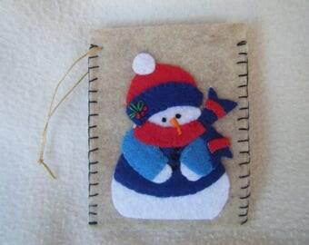 Beige Felt Snowman Envelope Style Christmas Ornament/Gift Card Holder