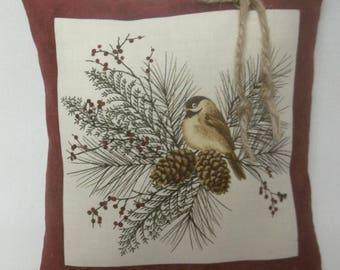 Chickadee Bird Christmas Mini Pillow Shelf Pillow