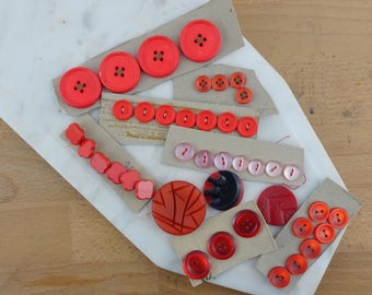 Lot of Vintage Red Buttons, Collection of Buttons, Loose Buttons, Plastic Buttons, Shades of Red