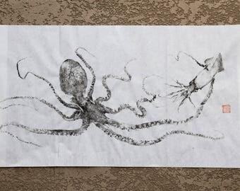 OCTOPUS & SQUID - Original Gyotaku - traditional Japanese fish art