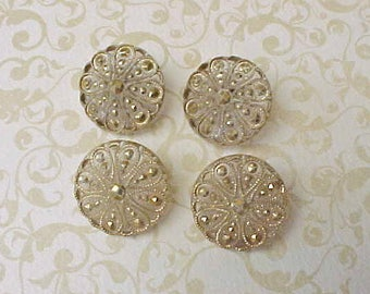 4 Lovely Edwardian Era Glass Buttons tinged in Metallic Gold