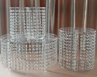 Chandelier crystal acrylic cake stands cascading style     1 to 6 tiers - Real  glass crystal
