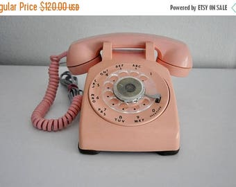 ON SALE Vintage Pink Rotary Dial Phone Working Telephone Bell System Western Electric