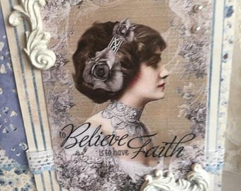 Faith Card ~~~  Multiple Occasions ~~~ Blue and White Attractive Greeting~~~
