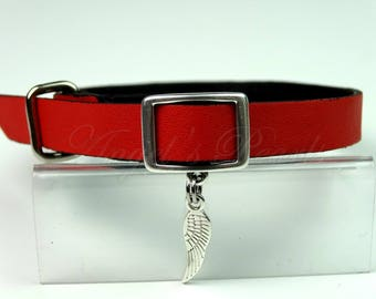 Genuine Leather Cat Collar Red Safety Elastic - Plume by Angel's Pearls