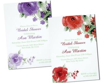 Watercolor Rose Bridal Shower Invitations