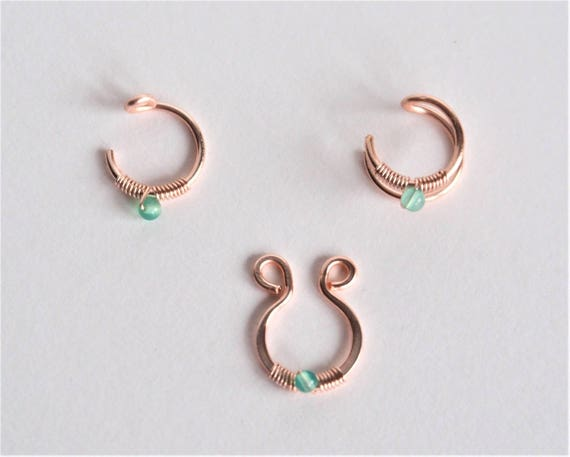 Gemstone Fake nose ring Double lip ring Septum Rose gold Non pierced ear cuff piercing hoop most popular earrings nipple jewelry