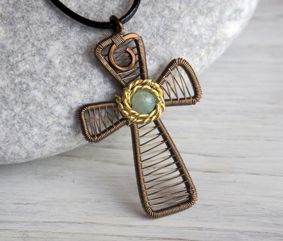 Cross pendant for women Wire wrapped necklace Large Amazonite Greek Orthodox Christian jewelry Anniversary gift for wife