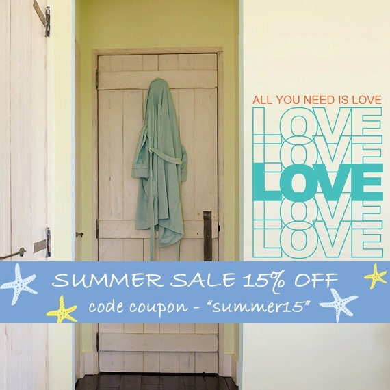 Love Quotes Vinyl Wall Decal, All You Need Is Love, Wall Sticker, Home Decoration, Lettering Wall Art, Quote Home Decoration - ID362