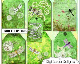 Bible Journal iIp-Ins, Dragonflies & Dandelions  Green Tags for Journaling Jewelry Holders, Printable Backgrounds for Scrapbooking